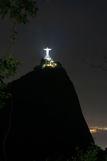 Illuminated statue of Christ the Redeemer, Rio de Janeiro, Brazil : Stock Photo