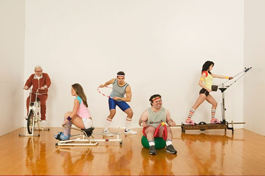 Stock Photo: 1779R-3293 People exercising on exercise machines