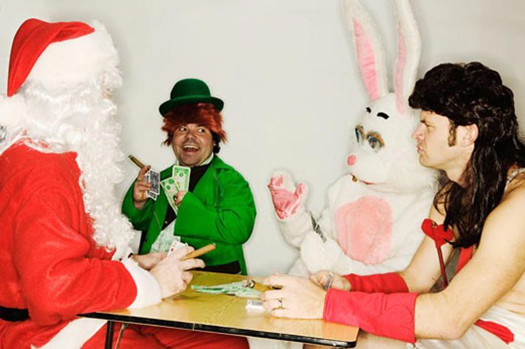 Holiday mascots gambling : Stock Photo