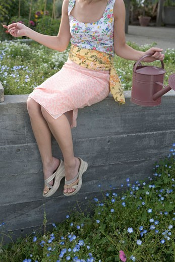 Woman watering plants : Stock Photo