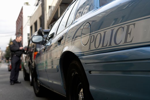 Close up of police car : Stock Photo