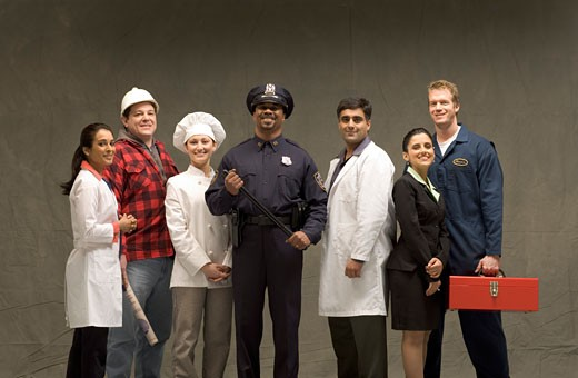 People of different trades smiling : Stock Photo