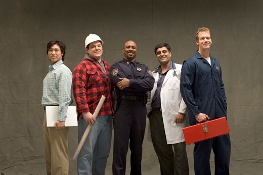Men of different trades : Stock Photo