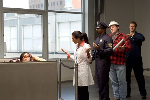 Customers waiting to be helped : Stock Photo