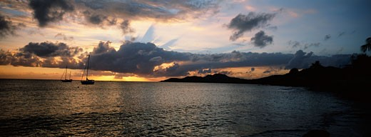 Panoramic view of tropical sunset : Stock Photo