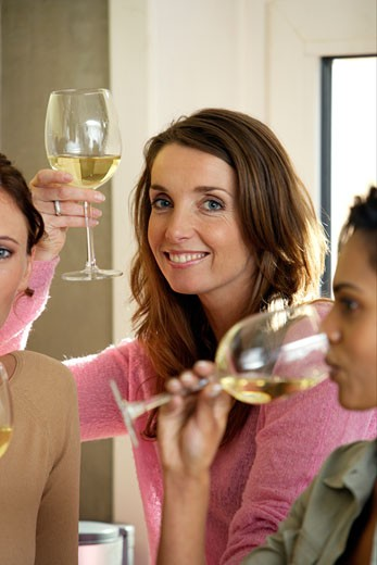Woman drinking white wine with friends : Stock Photo