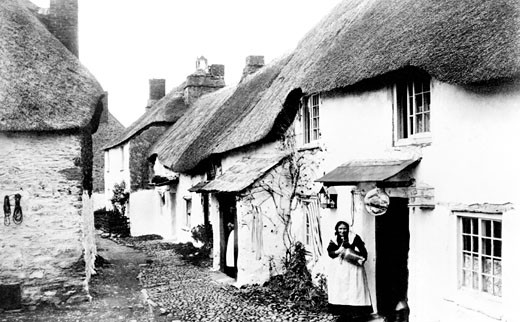 Hope Cove, Cottages 1890 : Stock Photo