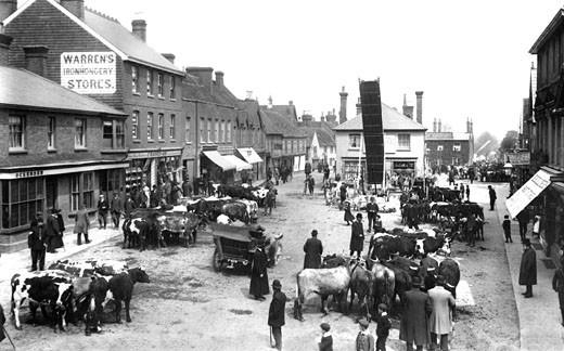 Crawley, the Fair, Upper Square 1905 : Stock Photo