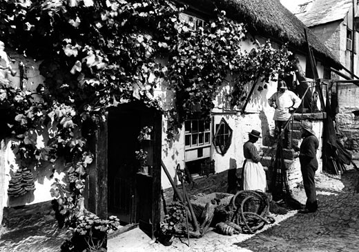 Newlyn, Fishermen's Cottages 1906 : Stock Photo