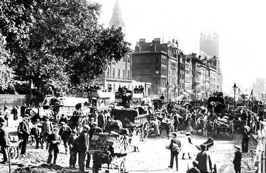 London, Parliament and Whitehall 1880 : Stock Photo