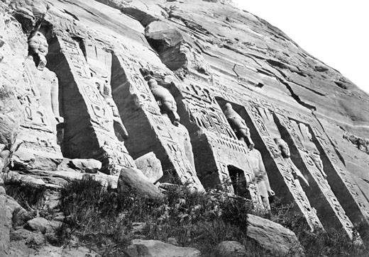 Nubia, Facade of the Smaller Temple c1857 : Stock Photo