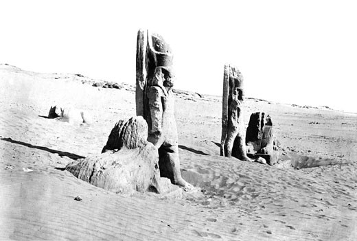 Nubia, Colossi and Sphynx at Wady Saboua c1857 : Stock Photo