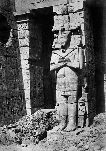 Thebes, Osiridae Pillar at Medinet-Haboo c1857 : Stock Photo