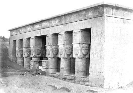 Denderah, Portico of the Temple c1857 : Stock Photo