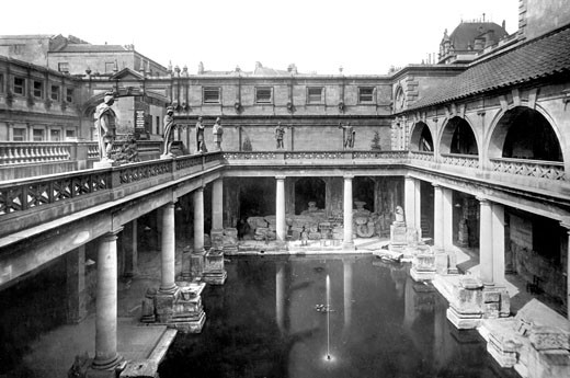 Bath, Roman Baths 1901 : Stock Photo