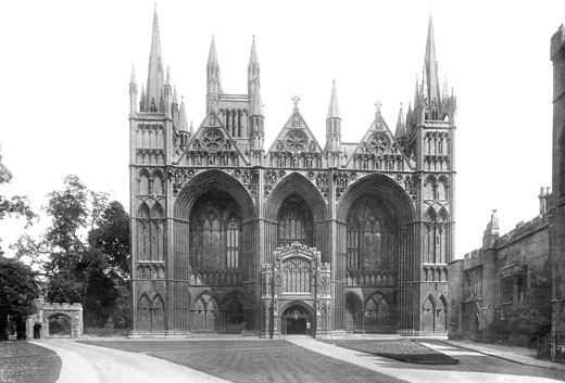 Peterborough, Cathedral, west front 1904 : Stock Photo