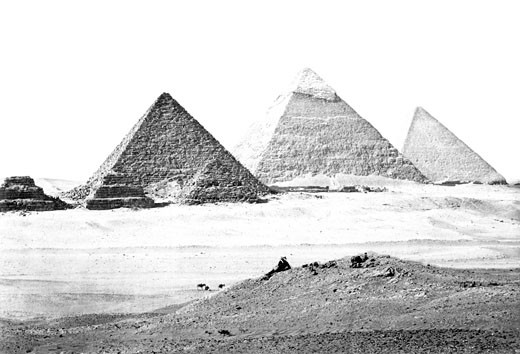 Geezeh, the Pyramids c1857 : Stock Photo