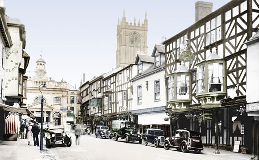 Ludlow, Broad Street and Angel Hotel 1936 : Stock Photo