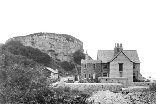 Red Wharf Bay, Garth House and Castle Rock c1940 : Stock Photo