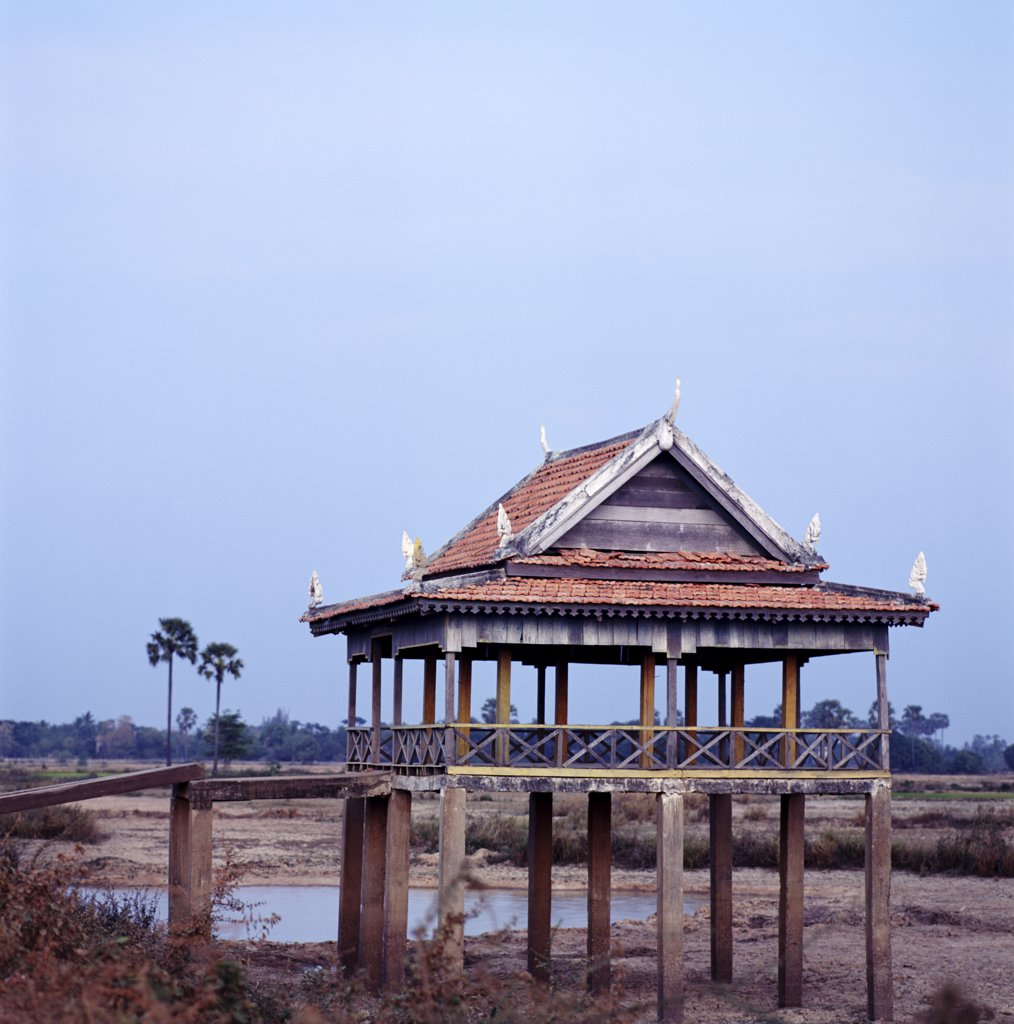Stock Photo: 1783-10407 Typical stilted architecture by water, Phnom Penh, Cambodia