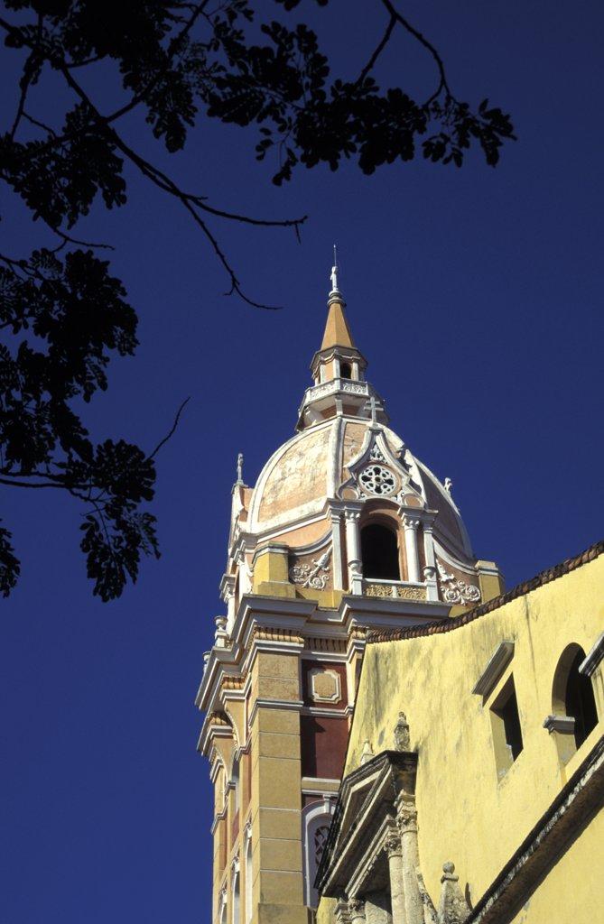 Stock Photo: 1783-10882 Dome of Cathedral, Low Angle View, Cartagena, Colombia