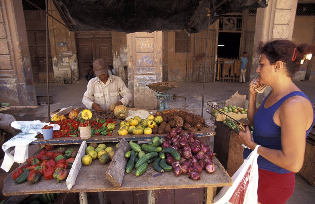 Market at train station   , Havana, Cuba. : Stock Photo