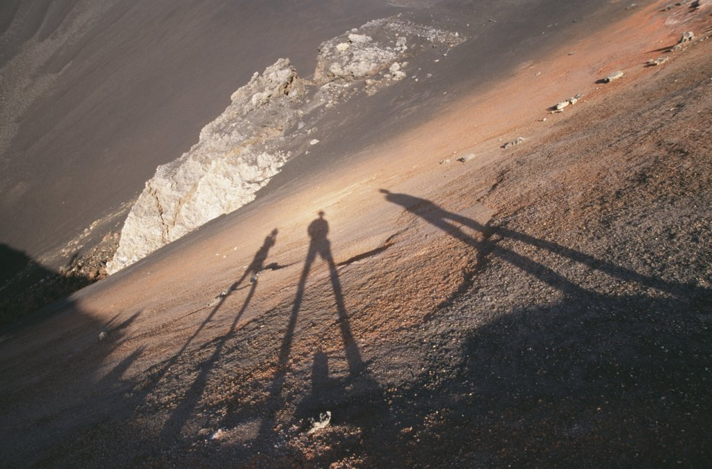 Shadows on 1995 Crater, Fogo, Fogo, Cape Verde : Stock Photo