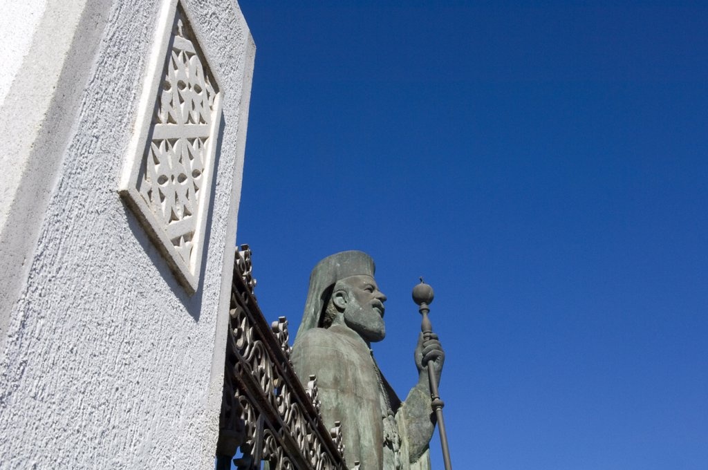Stock Photo: 1783-11311 Statue of Archbishop Makarios and fence, Nicosia, Cyprus