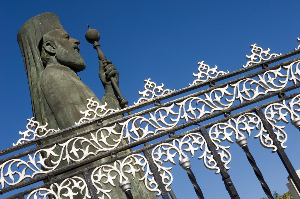 Stock Photo: 1783-11314 Statue of Archbishop Makarios and fence, Nicosia, Cyprus
