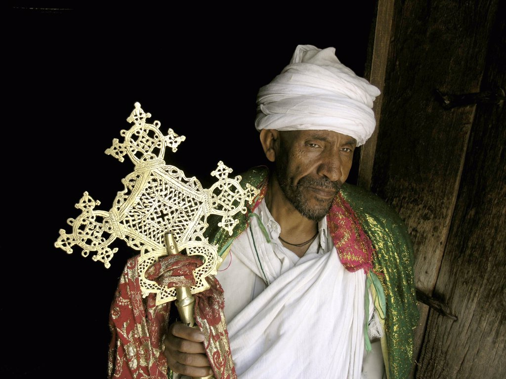 Priest displaying the cross, Lalibela, Ethiopia, . : Stock Photo