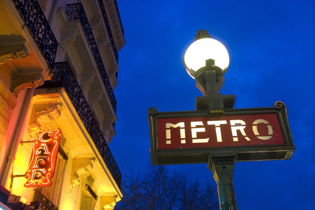 Stock Photo: 1783-12378 Detail of Maubert-Mutualite Metro station and cafe signs at dawn in the Latin Quarter (Quartier Latin) on the left bank., Maubert-Mutualite Metro station, Latin Quarter (Quartier Latin), Paris, France.