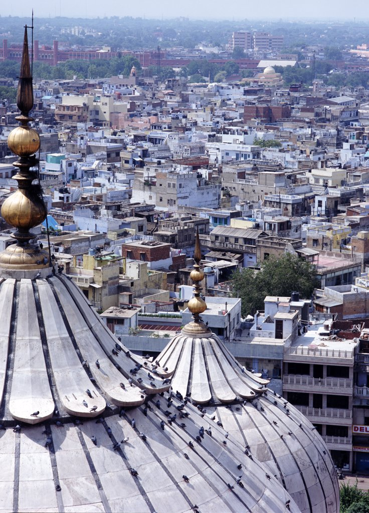 Stock Photo: 1783-13898 Rooftops of Old Delhi from the Jami Masjid, India