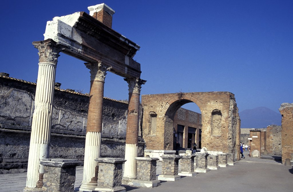 Stock Photo: 1783-15233 Remains of Colonnade at the Forum Pompeii, Pompeii, Italy