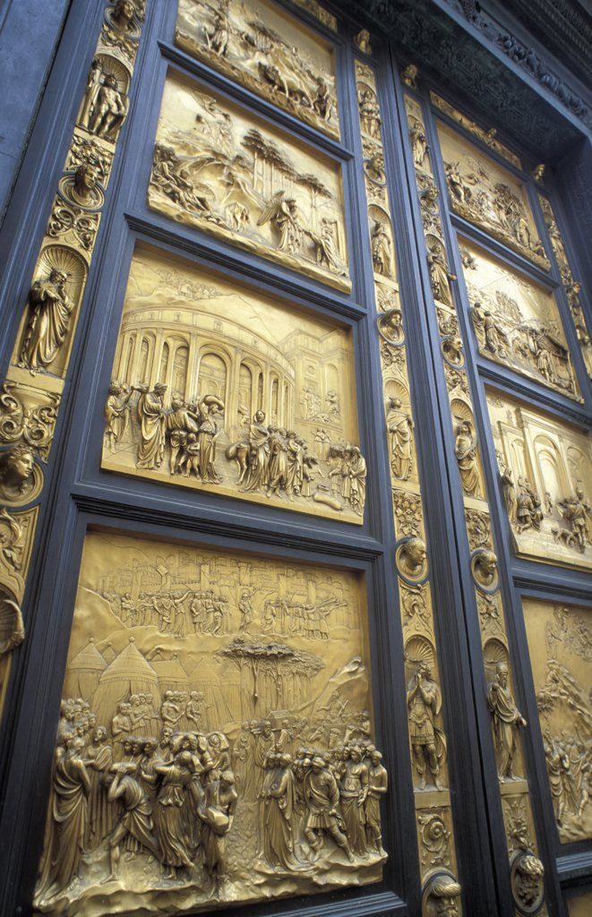 Stock Photo: 1783-15752 Bronze Baptistery doors, Close Up, Florence, Italy