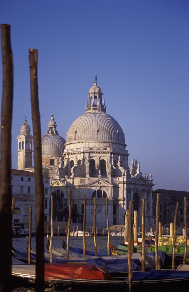 Stock Photo: 1783-15882 Santa Maria della Salute, gondolas, and mooring sticks, Venice, Italy
