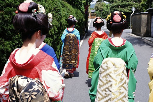 Stock Photo: 1783-16278 Women Dressed as Geisha, Arashiyama, Western Kyoto, Japan