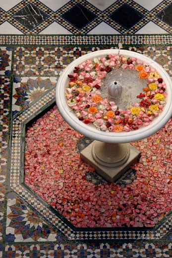 Fountain with rose heads in Riad Al Moussika, Pasha's residence, Marrakech, Morocco. : Stock Photo