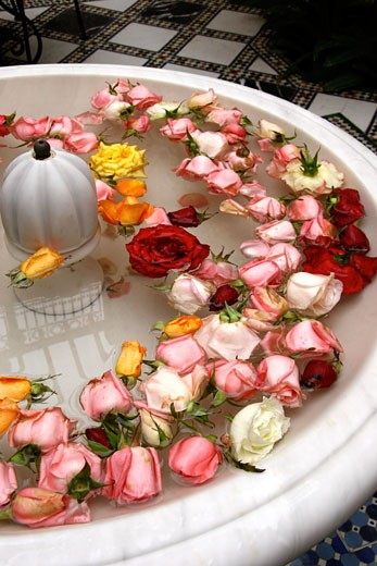 Stock Photo: 1783-17804 Fountain with rose heads in Riad Al Moussika, Pasha's residence, Marrakech, Morocco.