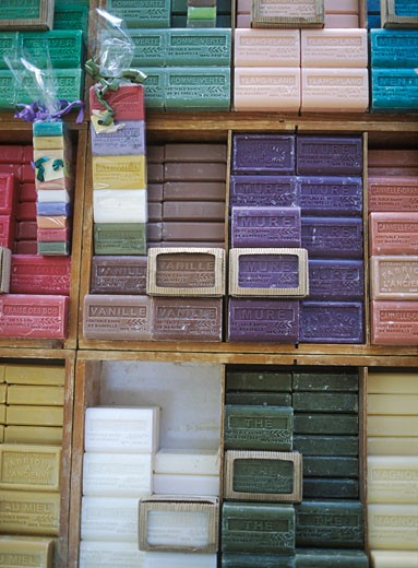 Stock Photo: 1783-1802 Bars of  soap for sale in the market, Aix-en-Provence, France.