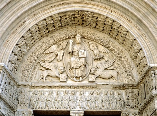 Stock Photo: 1783-1807 Detail of the main door of the Cathedrale St Trophime depicting the Last Judgement, Arles, Provence, France
