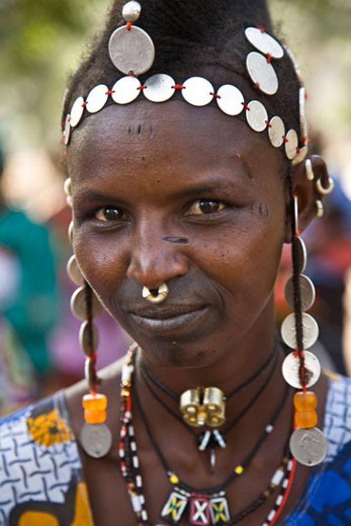 Stock Photo: 1783-18119 Portrait of Furlani tribeswoman, Ibi, Bandiagara Escarpment, Dogon Country, Mali.