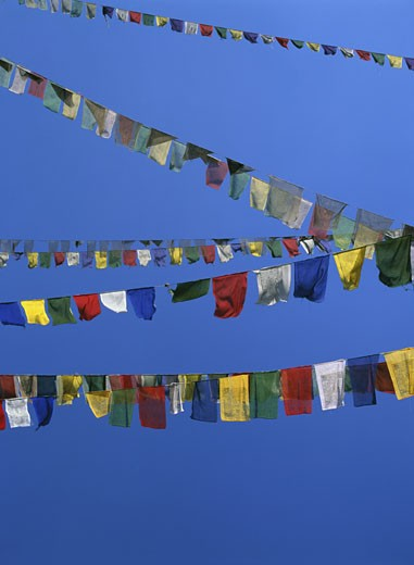Stock Photo: 1783-18788 Colorful Buddhist prayer flags, close-up, Kathmandu Valley, Nepal