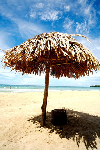 Stock Photo: 1783-19369 palm leaf umbrella on Red frog Beach, Bastimentos National Park, Bocas del Toro, Panama.
