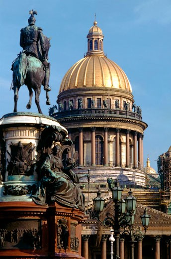 Stock Photo: 1783-19668 St. Isaac's church and Nicholas I statue, St. Petersburg, Russia.
