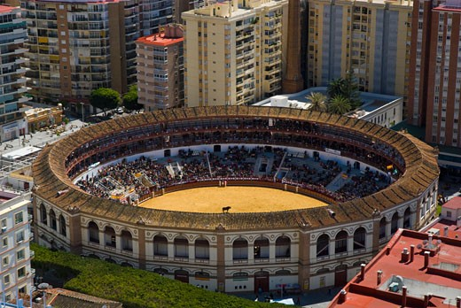 Stock Photo: 1783-19908 Elevated view of bullring, Malaga, Andalucia, Spain.
