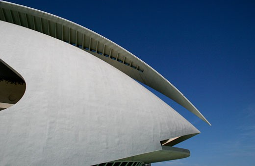 Stock Photo: 1783-20835 Palau de les Arts Reina Sofia building by Santiago Calatrava, City of Arts and Sciences (Ciudad de las Artes y las Ciencias), Valencia, Spain.