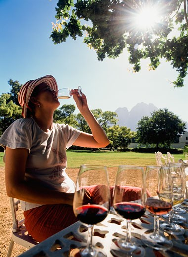 Woman tasting wine under oak tree at Boschendal wine estate, Stellenbosch, Western Cape, South Africa. : Stock Photo