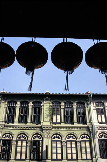 Stock Photo: 1783-21096 Houses in Chinatown with lanterns, Singapore