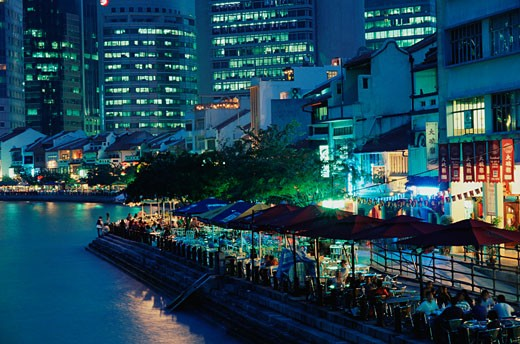 Stock Photo: 1783-21128 Bars along riverside at night, Boat Quay at night, Singapore