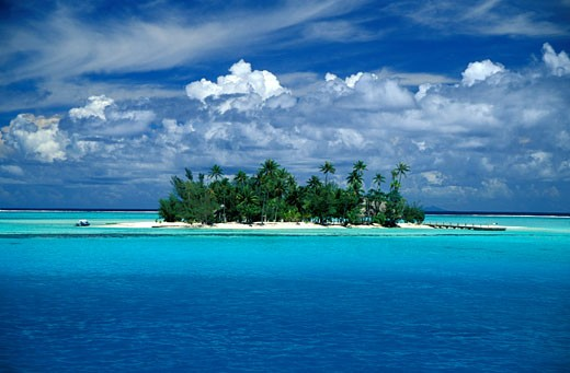 Stock Photo: 1783-21298 Small palm tree covered  tropical island, Bora Bora Lagoon, French Polynesia